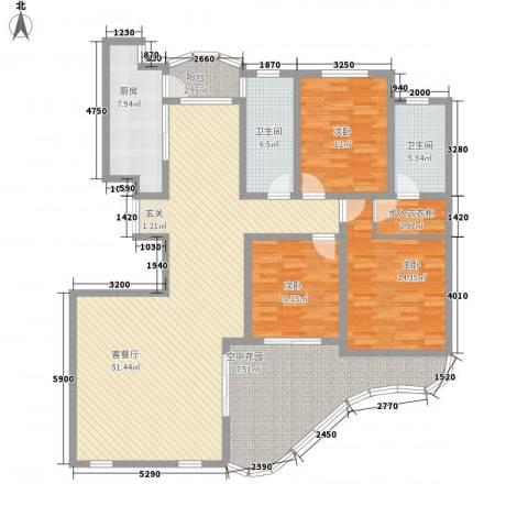现代逸城3室1厅2卫1厨188.00㎡户型图