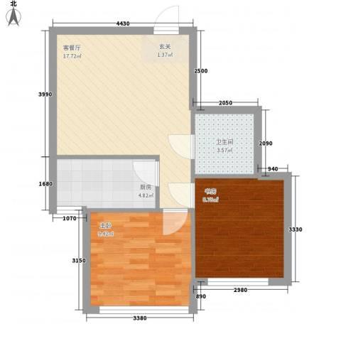 大城小居2室1厅1卫1厨70.00㎡户型图