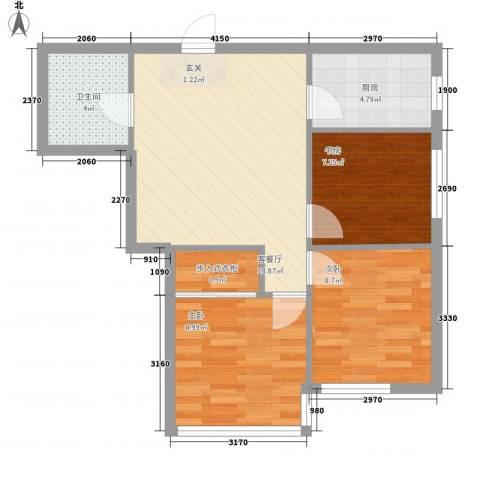 大城小居3室1厅1卫1厨83.00㎡户型图