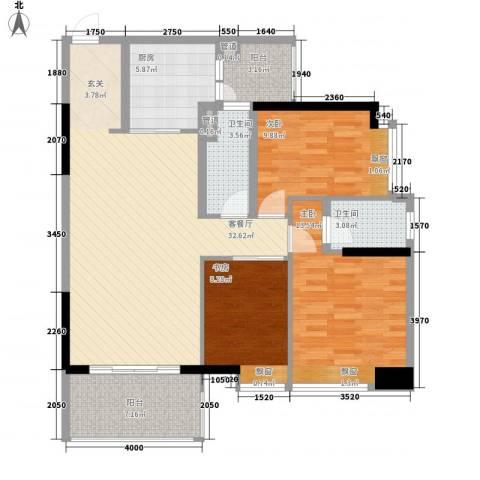 名都名雅苑3室1厅2卫1厨125.00㎡户型图