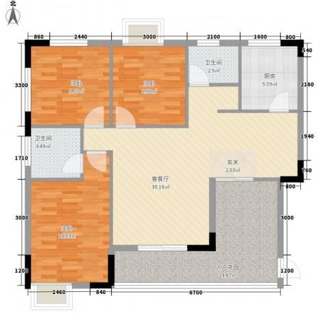 曦华佳苑3室1厅2卫1厨118.00㎡户型图