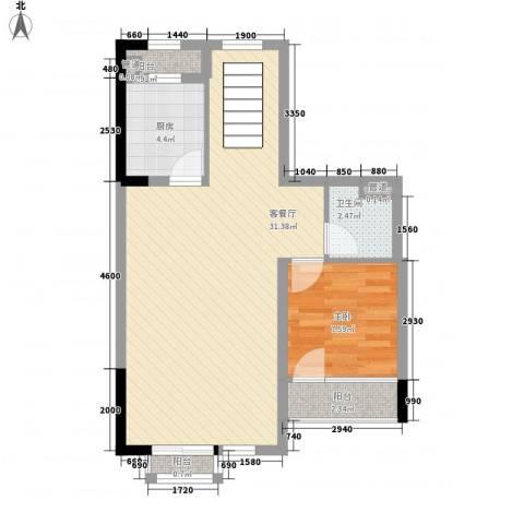 万科第五园领峰1室1厅1卫1厨72.00㎡户型图