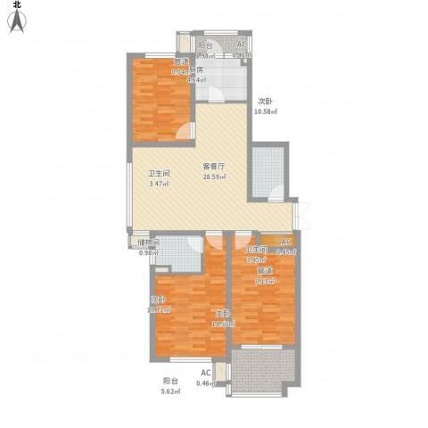 枫丹白露3室1厅2卫1厨130.00㎡户型图