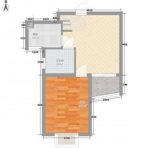 泰晤士小镇公寓1室1厅1卫1厨55.00㎡户型图