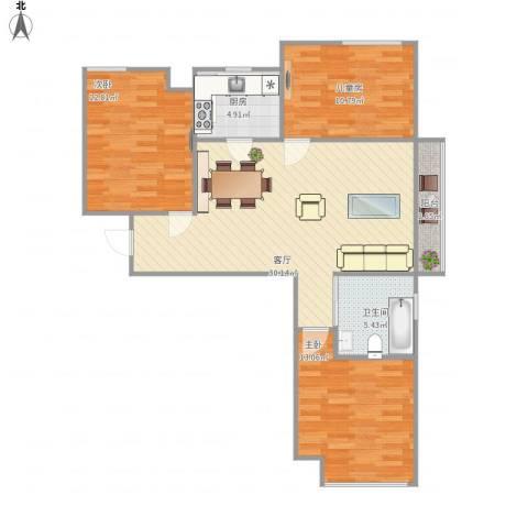 东方名城3室1厅1卫1厨107.00㎡户型图