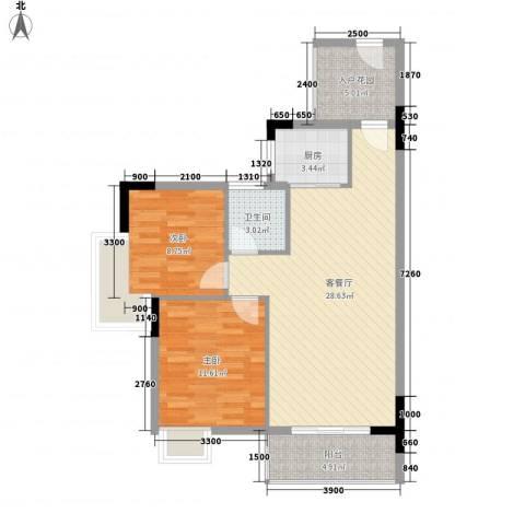曦华佳苑2室1厅1卫1厨86.00㎡户型图