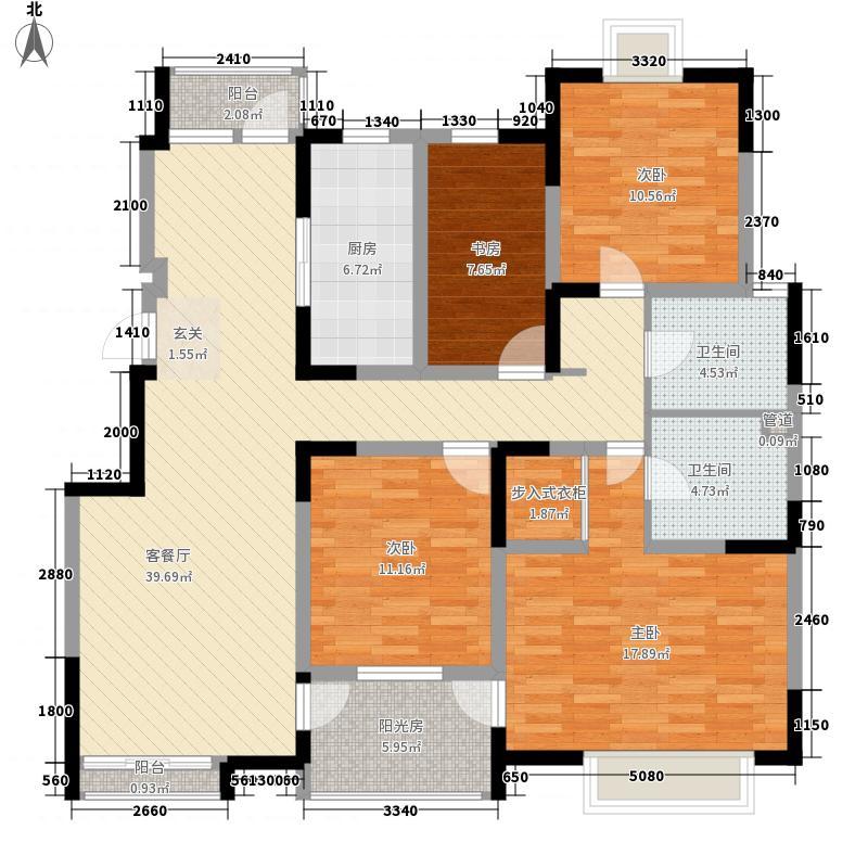 西郡188花园164.10㎡G户型4室2厅2卫1厨