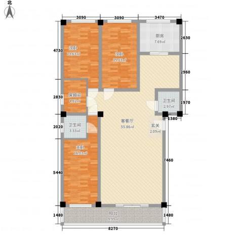 金石公寓3室1厅2卫1厨185.00㎡户型图