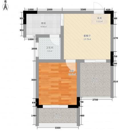 曦华佳苑1室1厅1卫1厨57.00㎡户型图