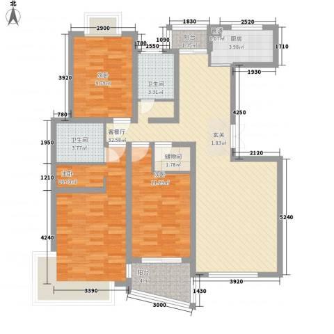 圣地亚哥3室1厅2卫1厨131.00㎡户型图