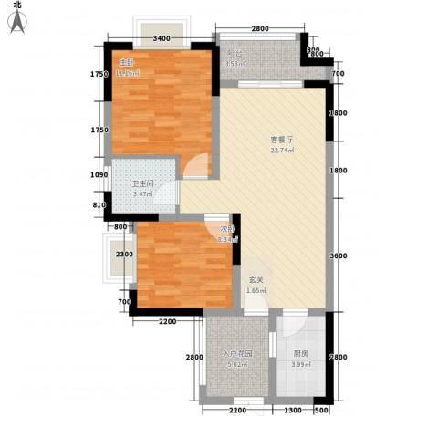 拓新香国城一期2室1厅1卫1厨81.00㎡户型图