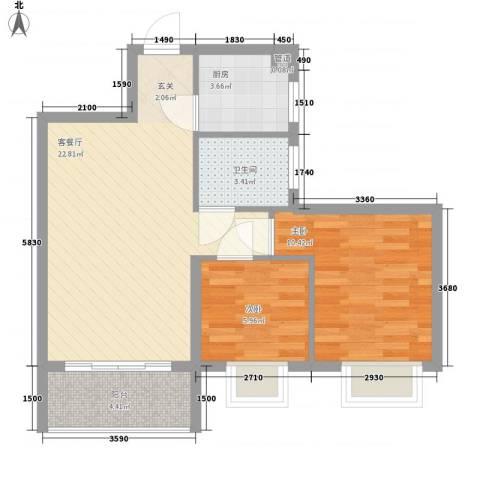 欧洲假日国际公寓2室1厅1卫1厨73.00㎡户型图