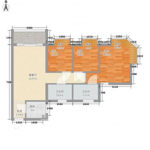 欧洲假日国际公寓3室1厅2卫1厨94.00㎡户型图