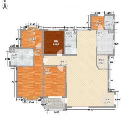大连明珠3室1厅3卫1厨197.00㎡户型图