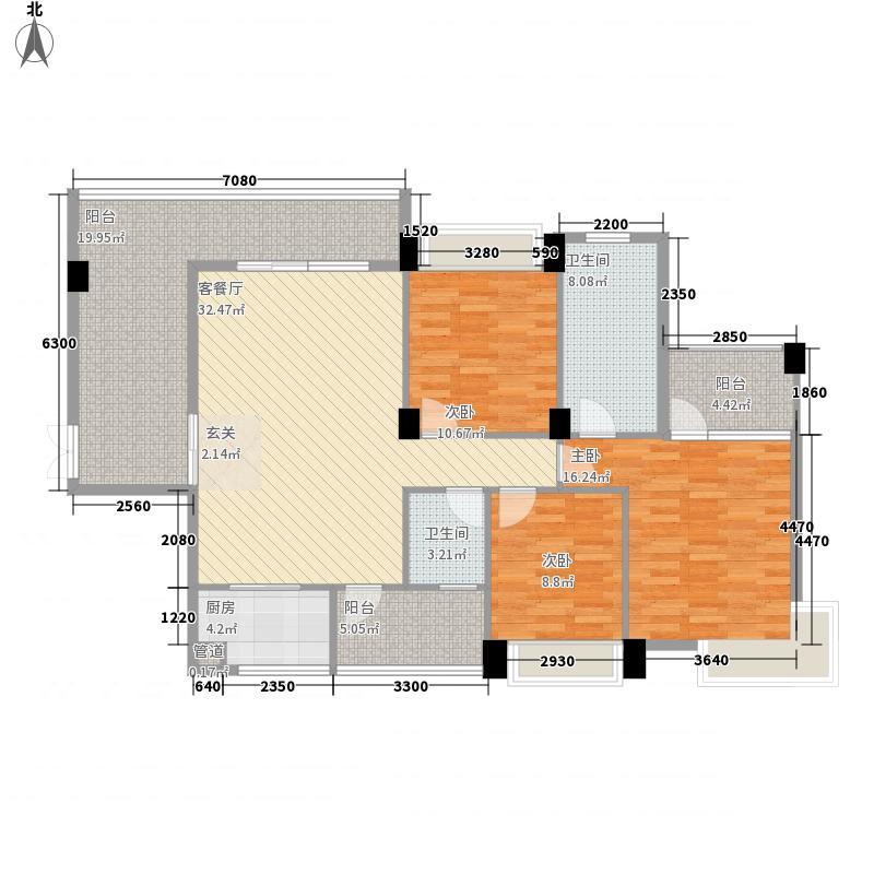 金龙理想1号135.75㎡2#楼2-16层(01、08)户型3室2厅2卫1厨