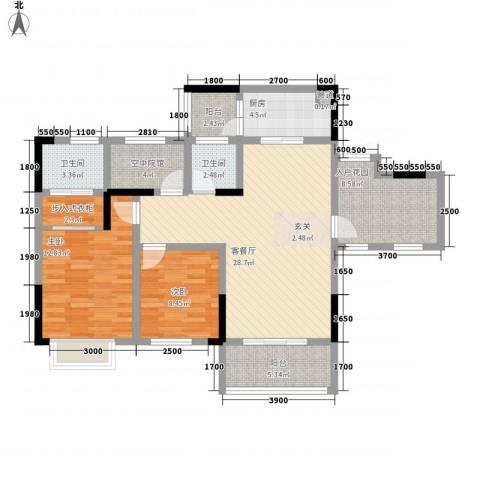 拓新香国城一期2室1厅2卫1厨102.00㎡户型图