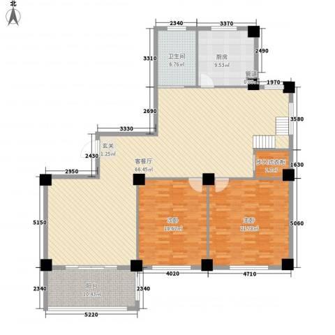 君悦龙庭2室1厅1卫1厨188.00㎡户型图