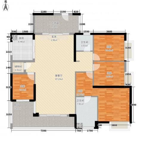 万科金域华庭4室1厅2卫1厨183.00㎡户型图