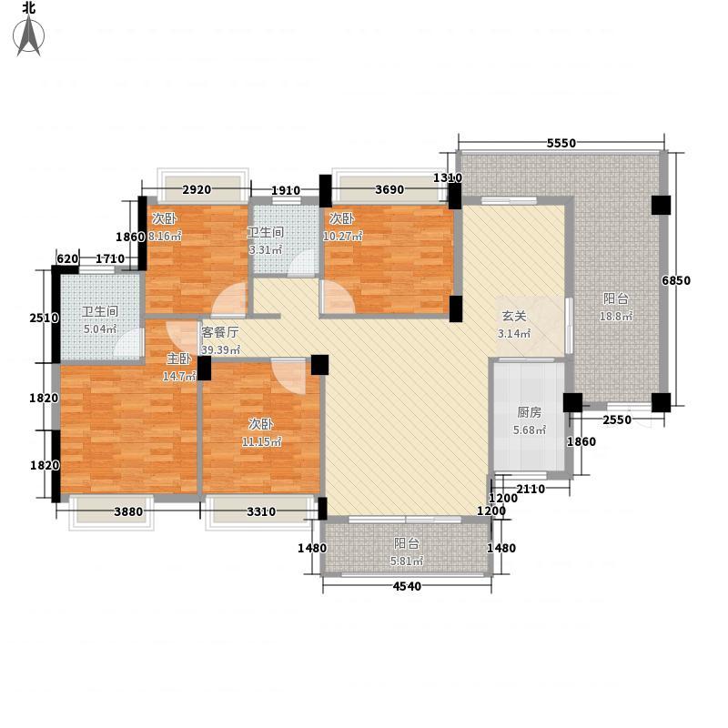 金龙理想1号14.46㎡户型4室2厅2卫1厨