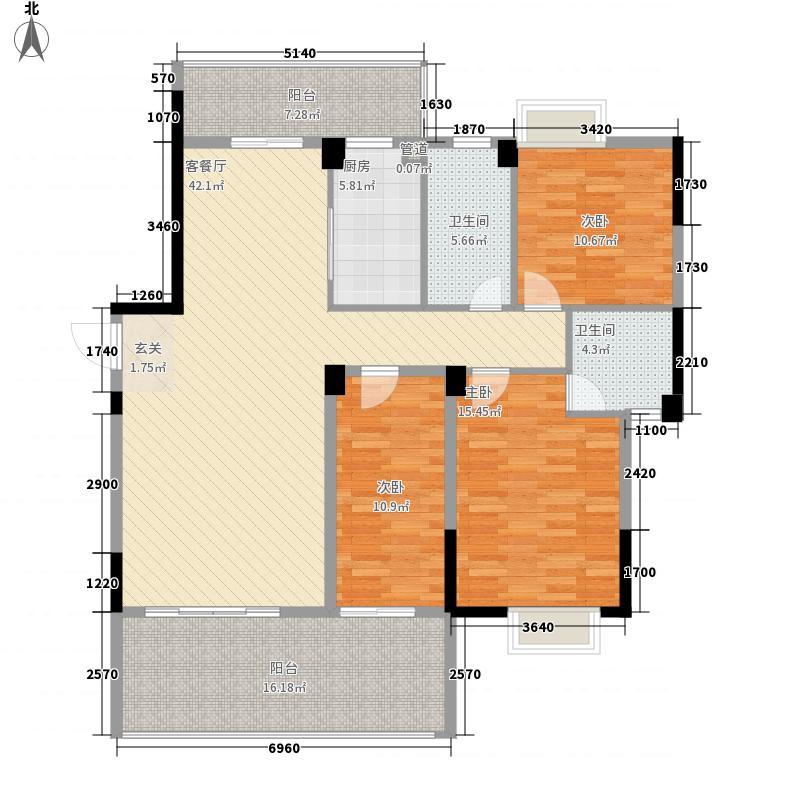 金超・君悦雅轩3室1厅2卫1厨128.00㎡户型图