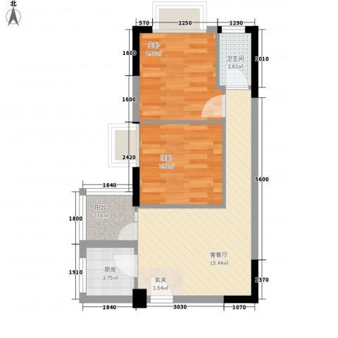 丽格国际公寓2室1厅1卫1厨43.00㎡户型图
