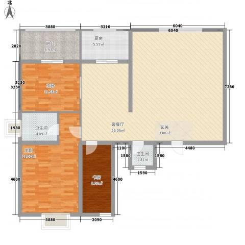 金地世嘉3室1厅2卫1厨157.00㎡户型图