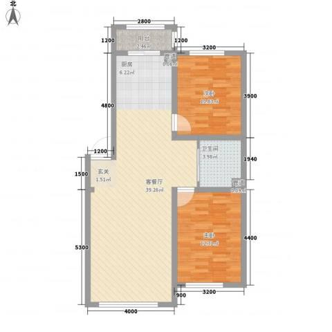 兆丰嘉座2室1厅1卫0厨69.00㎡户型图