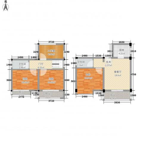 月亮湾亲水嘉园3室1厅2卫1厨123.00㎡户型图