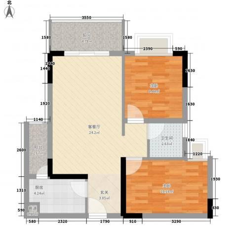 景茂国际2室1厅1卫1厨84.00㎡户型图
