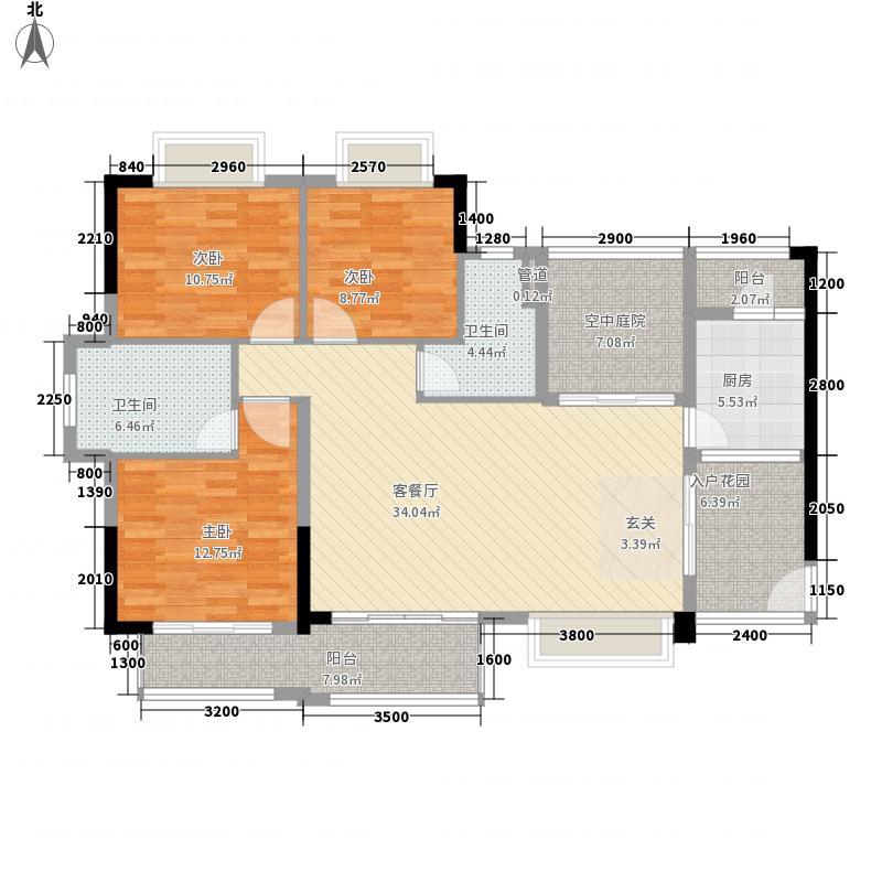 恒宇・麓湖123.74㎡阔绰户型3室2厅2卫