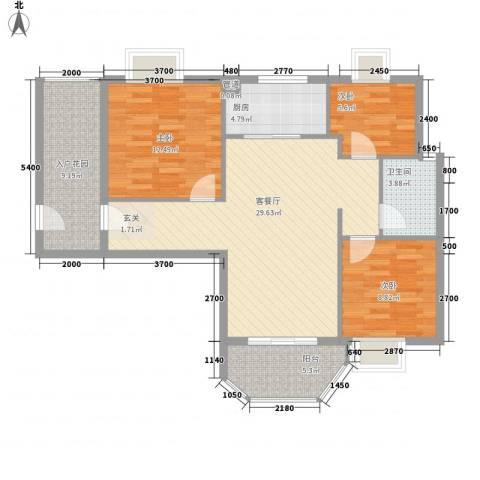 橄榄园3室1厅1卫1厨79.77㎡户型图
