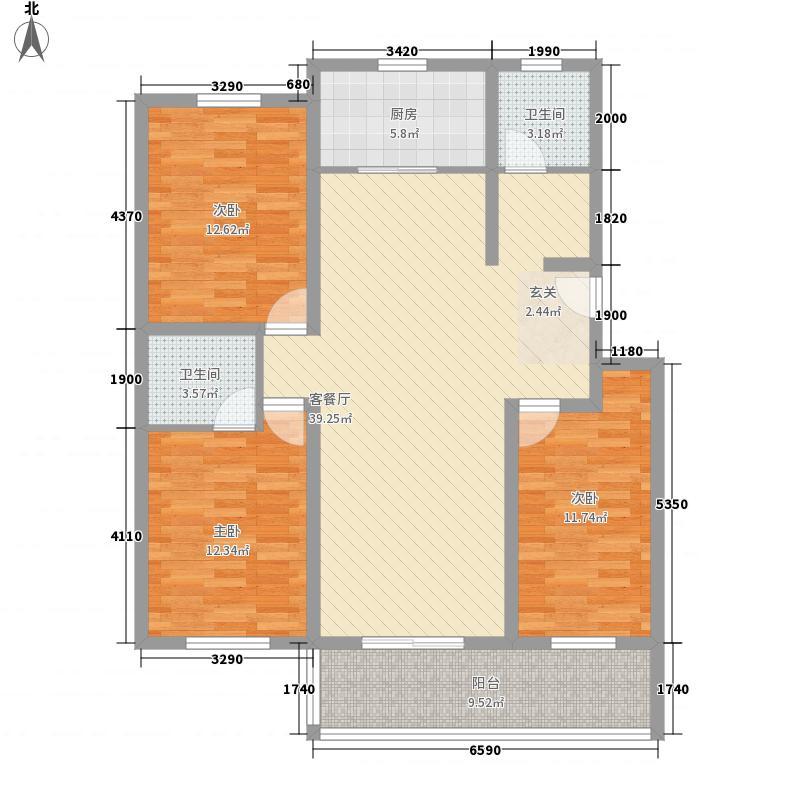 鹭洲花园127.00㎡户型3室