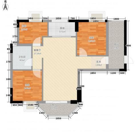 橄榄园3室1厅1卫1厨70.22㎡户型图