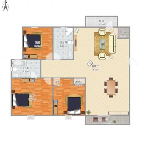 新珠苑-322-1443室1厅2卫1厨180.00㎡户型图