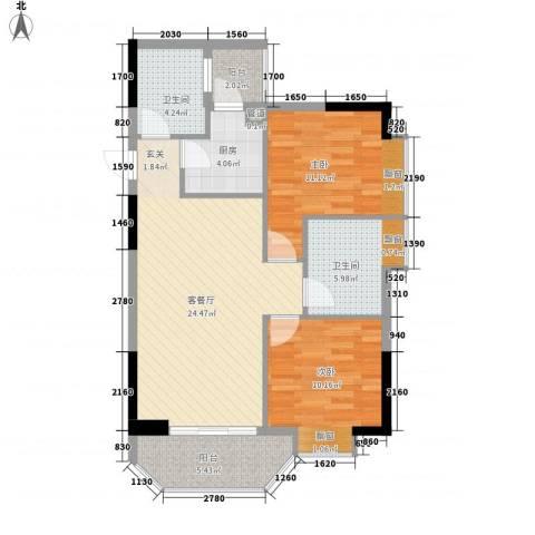 橄榄园2室1厅2卫1厨84.00㎡户型图
