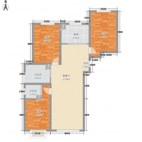 植物园宿舍3室1厅2卫1厨134.00㎡户型图