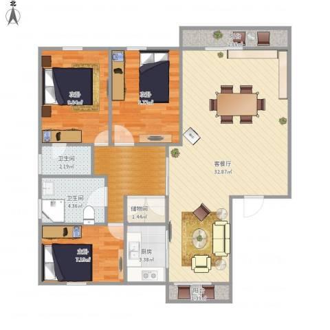 东苑新天地南区-322-883室1厅2卫1厨110.00㎡户型图