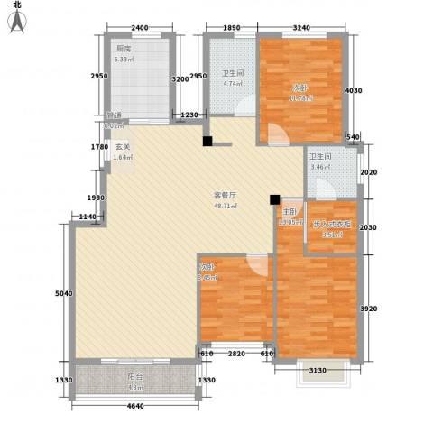 洛兹广场3室1厅2卫1厨146.00㎡户型图