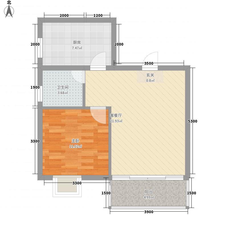 大地景秀55.71㎡大地景秀八号楼D户型1室2厅1卫1厨55.71㎡户型1室2厅1卫1厨