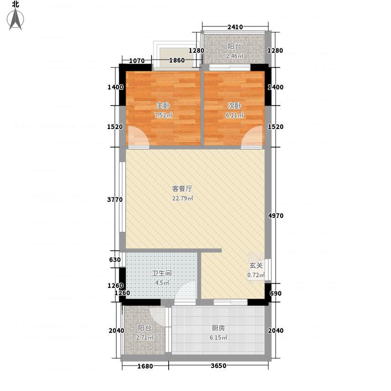 美荔心筑74.70㎡单层数05单位户型2室2厅1卫1厨