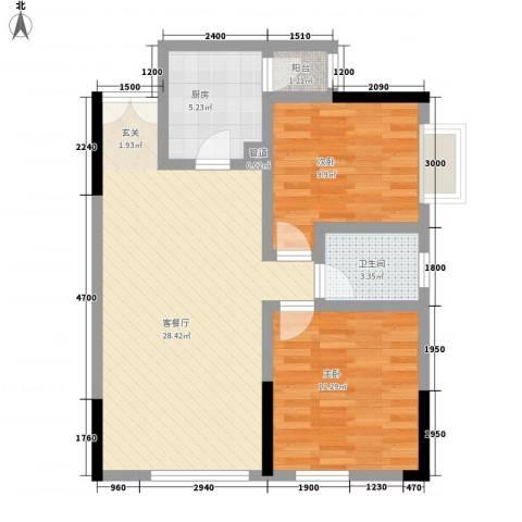 渝复新城丽都2室1厅1卫1厨66.00㎡户型图