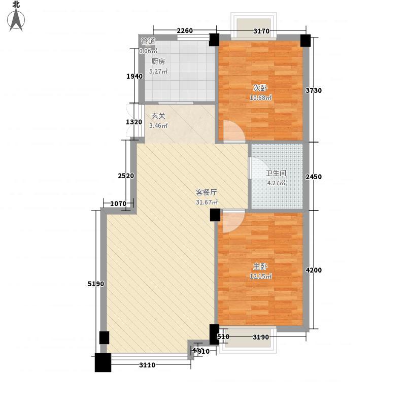 东方波尔多86.00㎡1、7、8、12#楼桐丹花语B2户型2室2厅1卫1厨