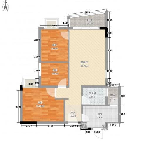 深华苑3室1厅1卫1厨96.00㎡户型图