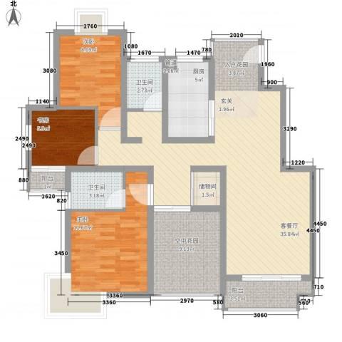 蓉湖壹号3室1厅2卫1厨128.00㎡户型图