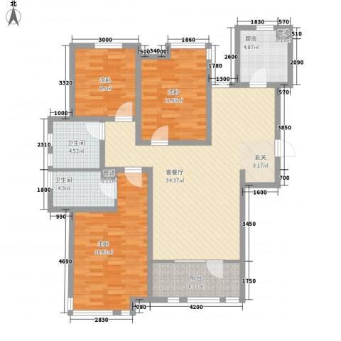 邦妮大厦3室1厅2卫1厨141.00㎡户型图