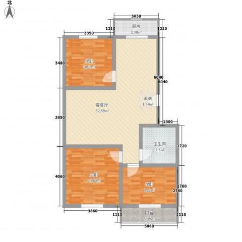 丰硕苑3室1厅1卫1厨112.00㎡户型图