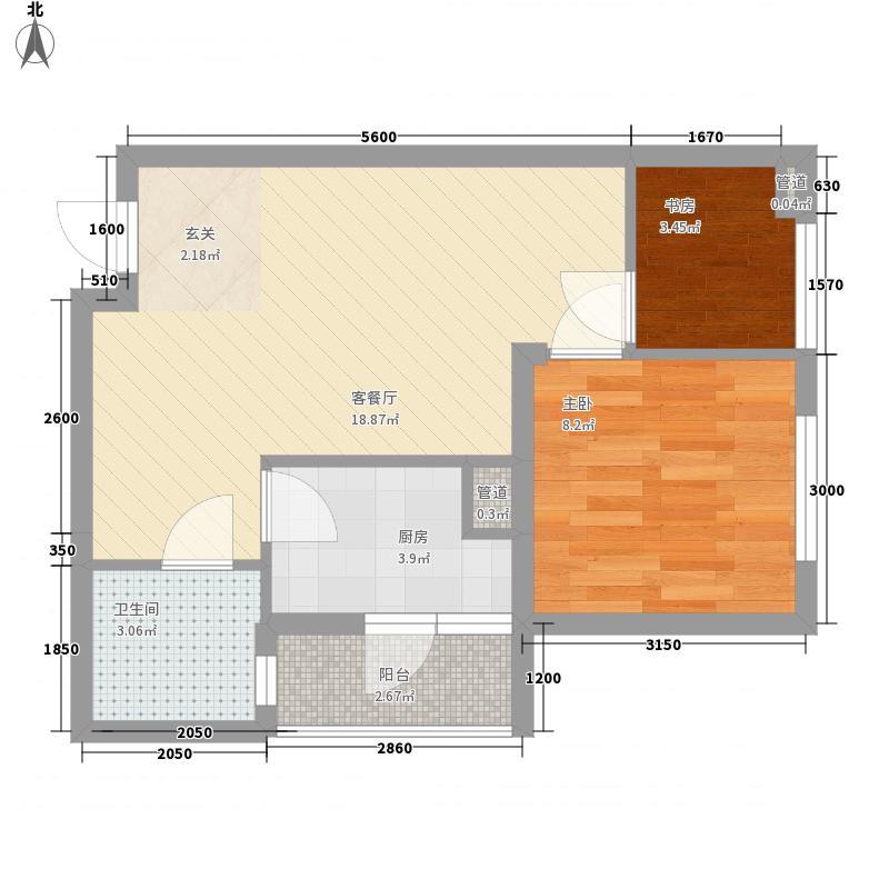 渝能明日城市45.22㎡一期R6号楼标准层F户型1室1厅1卫1厨