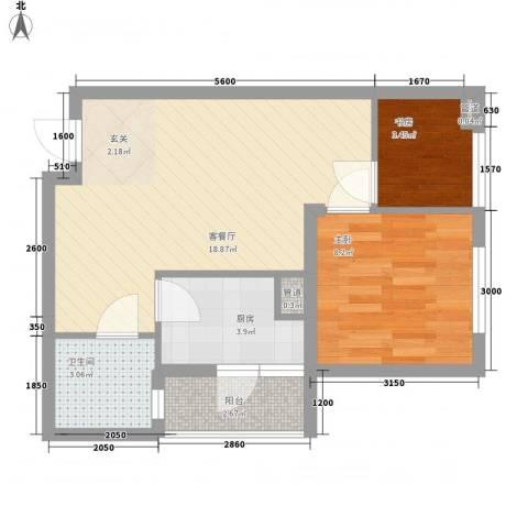 渝能明日城市2室1厅1卫1厨45.00㎡户型图