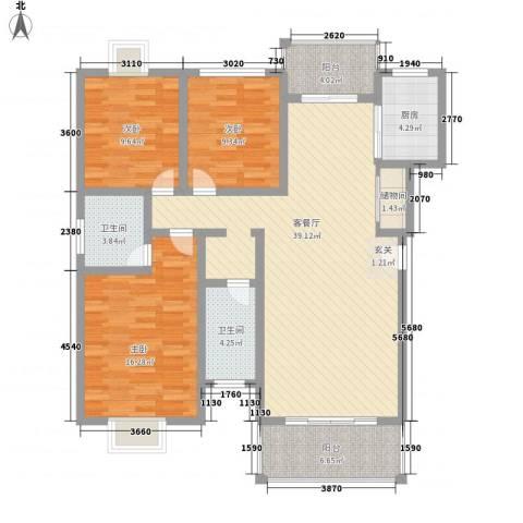宏益大厦3室1厅2卫1厨143.00㎡户型图