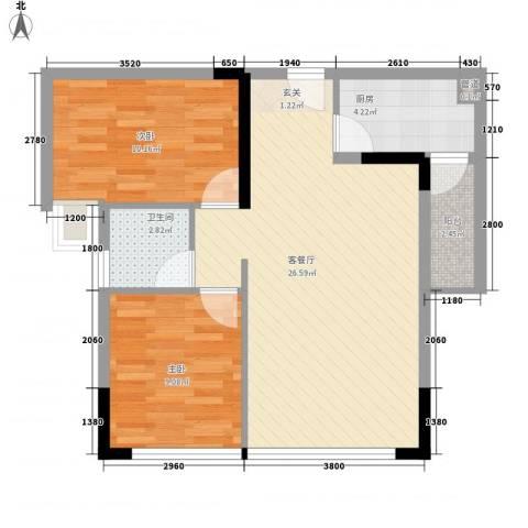景茂国际2室1厅1卫1厨88.00㎡户型图